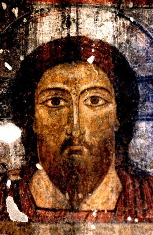 Лик Спасителя. Фреска монастыря Кобайр, Армения. Выполнена грузинскими мастерами в XIII веке, когда монастырь был православным.