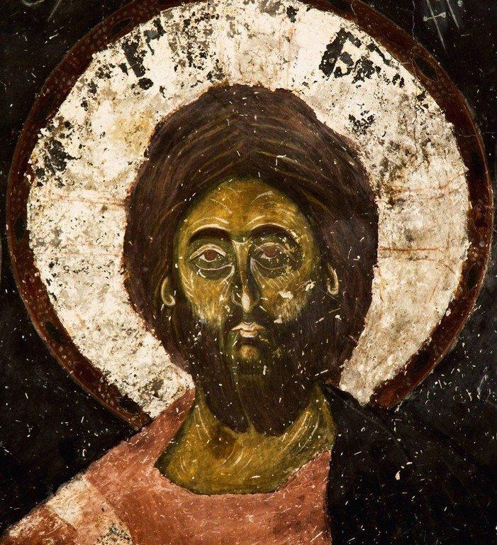 Лик Спасителя. Фреска церкви Святых Архангелов (Тарингзел) в Латали, Сванетия, Грузия. XIV век.