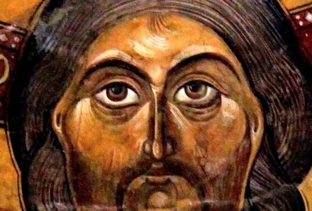 Христос на престоле. Фреска собора Светицховели во Мцхета, Грузия. XIX век (по контуру XI века). Фрагмент.