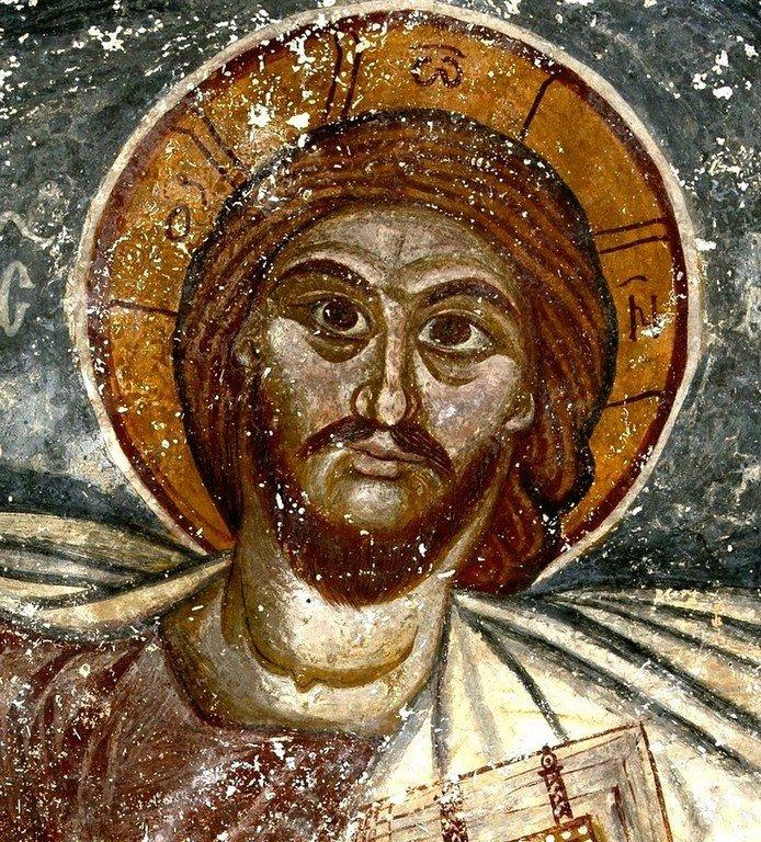 Христос Пантократор. Фреска монастыря Хоби, Грузия. XIII - XIV вв. Лик Спасителя.
