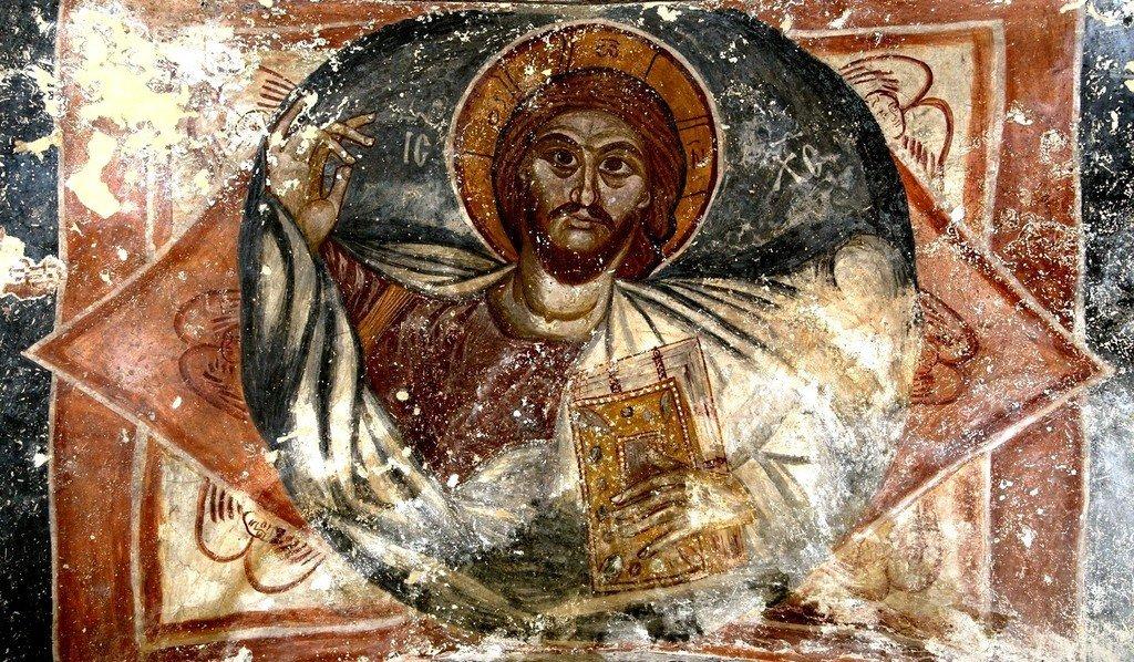 Христос Пантократор. Фреска монастыря Хоби, Грузия. XIII - XIV вв.