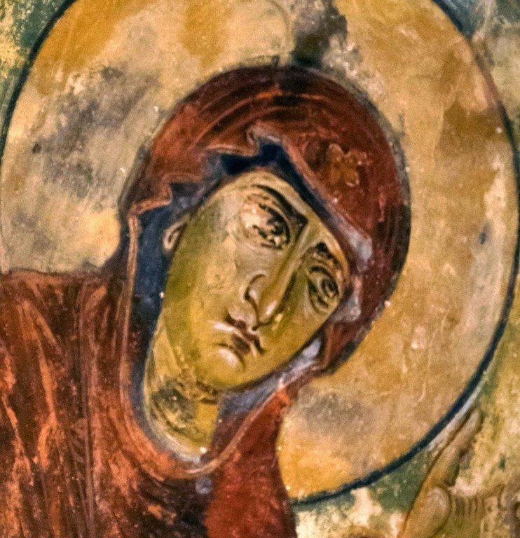 Деисис. Фреска церкви Архангелов в Ипрари, Сванетия, Грузия. 1096 год. Иконописец Тевдоре. Фрагмент.