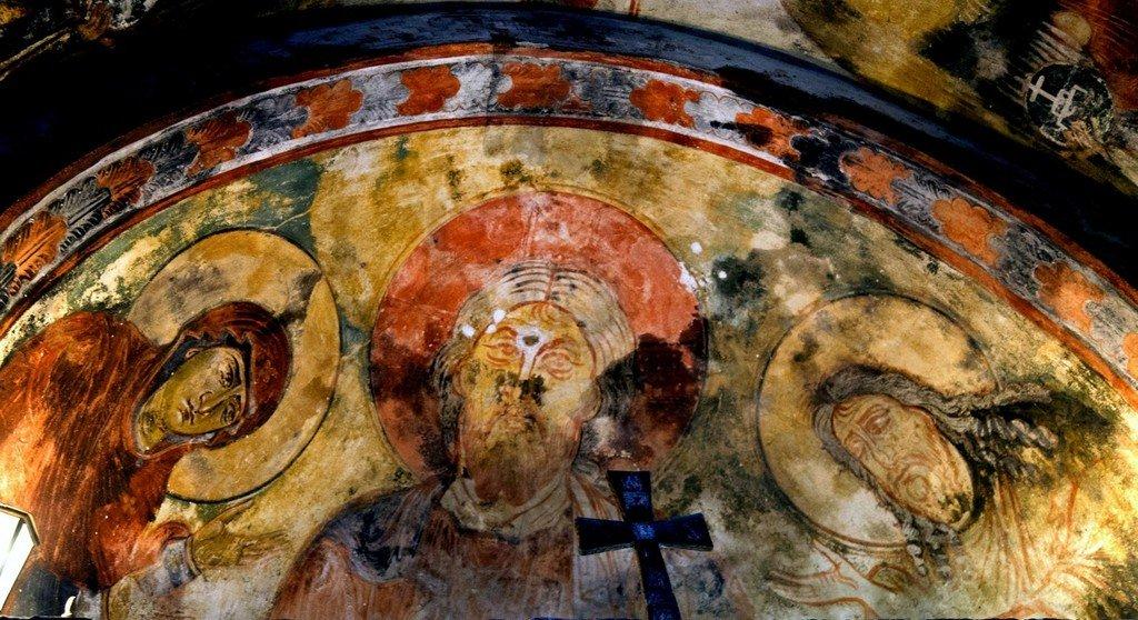 Деисис. Фреска церкви Архангелов в Ипрари, Сванетия, Грузия. 1096 год. Иконописец Тевдоре.