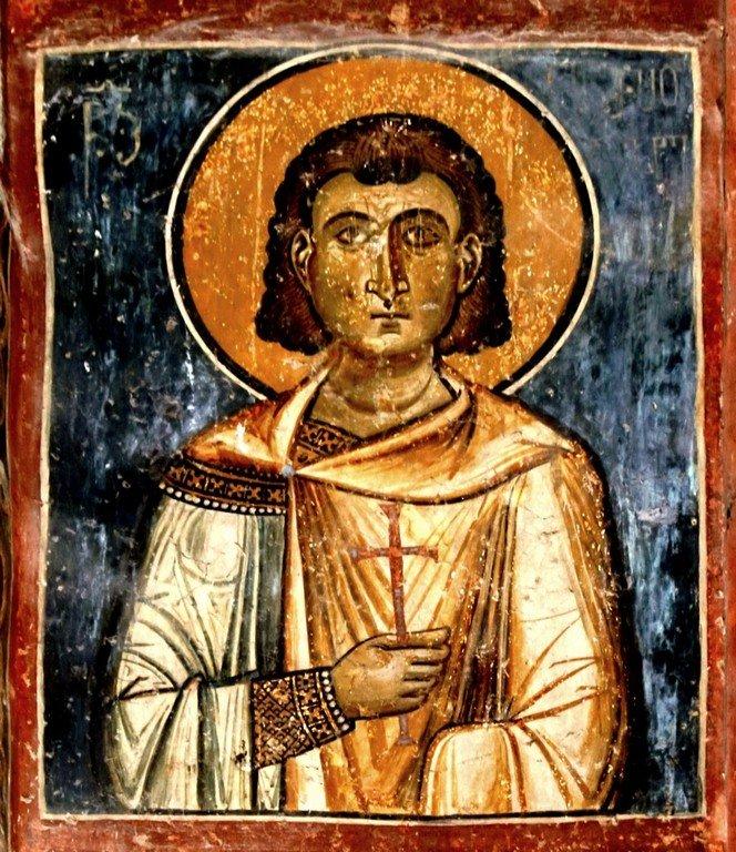 Святой Мученик Анемподист Персидский. Фреска монастыря Ахтала, Армения. Выполнена грузинскими мастерами в XIII веке, когда монастырь был православным.