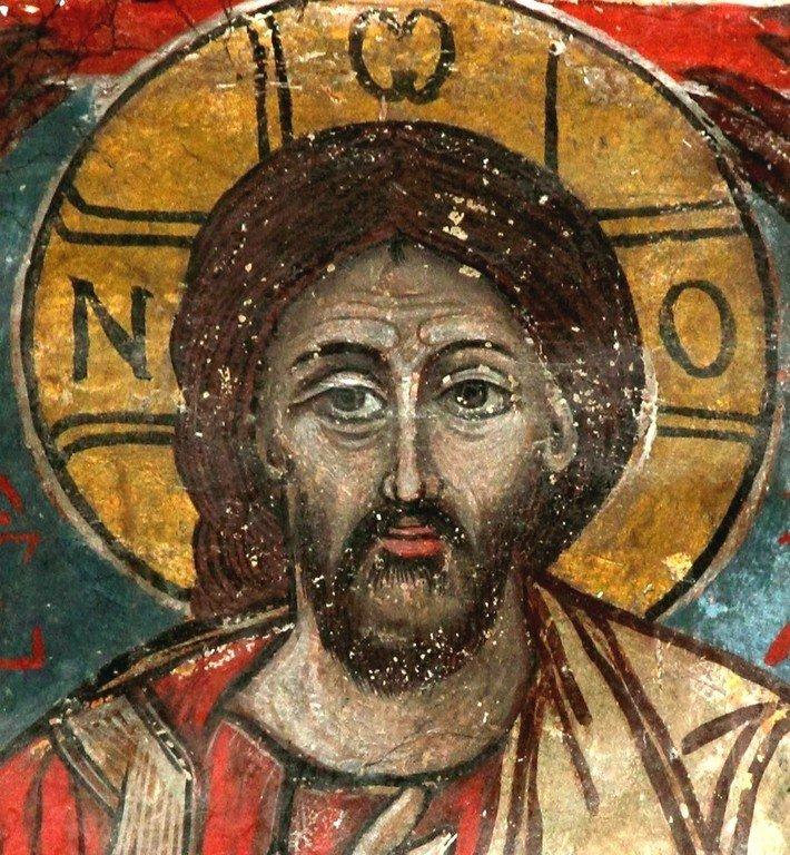 Христос Пантократор. Фреска собора Светицховели во Мцхета, Грузия. Лик Спасителя.
