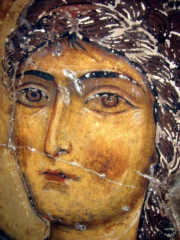 Архистратиг Михаил. Фреска храма Атени Сиони, Грузия. 1080 год.