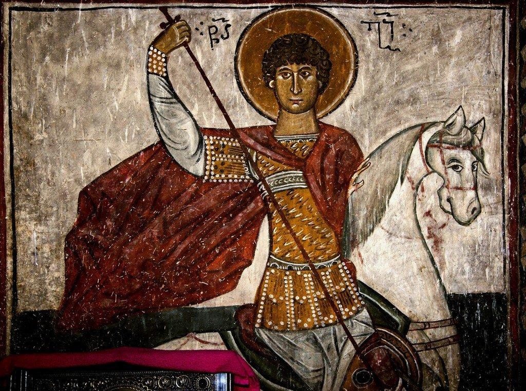 Святой Великомученик Георгий Победоносец. Фреска церкви Архангелов Михаила и Гавриила в Ленджери, Сванетия, Грузия.