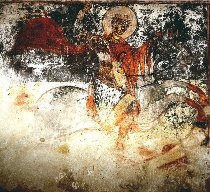 Святой Великомученик Георгий Победоносец. Фреска церкви Архангелов в Ипрари, Сванетия, Грузия. 1096 год. Иконописец Тевдоре.