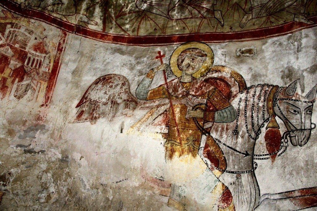 Святой Великомученик Георгий Победоносец. Фреска. Тангили, Сванетия, Грузия.