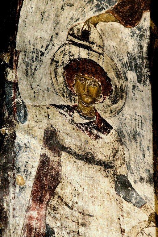 Святой Великомученик Георгий Победоносец. Фреска пещерного монастыря Вардзиа (Вардзия), Грузия. До 1185 года.
