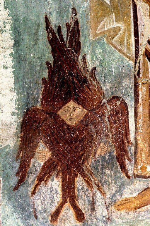 Деисис. Фреска церкви Распятия Господня в Сори, Грузия. Начало XIV века. Фрагмент. Серафим.