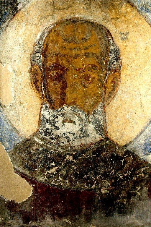 Лик Святителя. Фреска церкви Святого Георгия в крепости Бочорма, Грузия. Не ранее 1104 года.