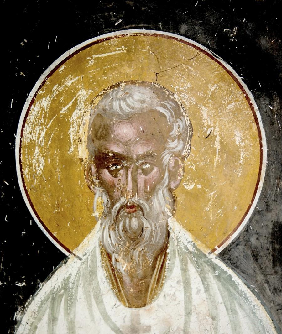 Священномученик Ермолай, иерей Никомидийский. Фреска церкви Святого Георгия в монастыре Гелати, Грузия. 1561 - 1578 годы.