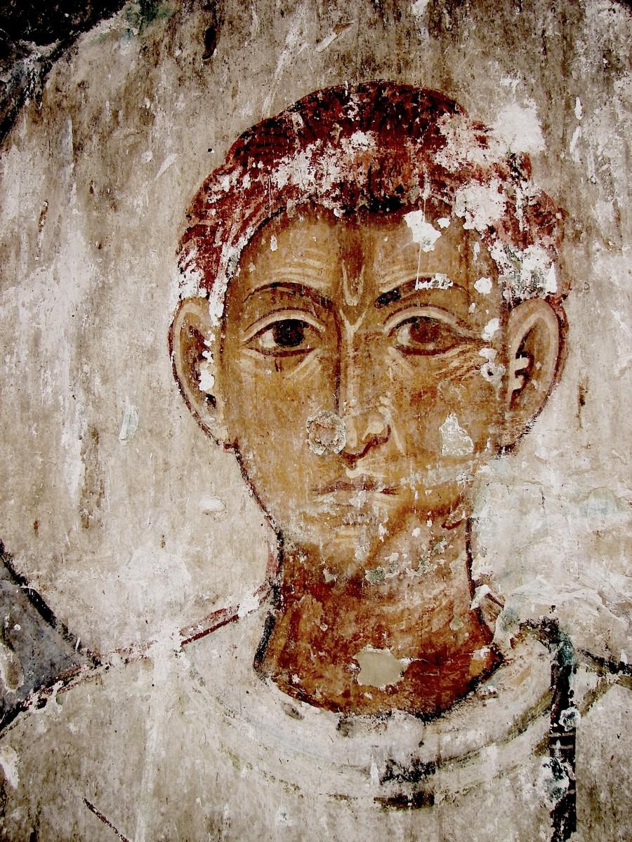 Святой Мученик Архидиакон Лаврентий. Фреска храма Атени Сиони (Атенский Сион), Грузия. 1080 год.