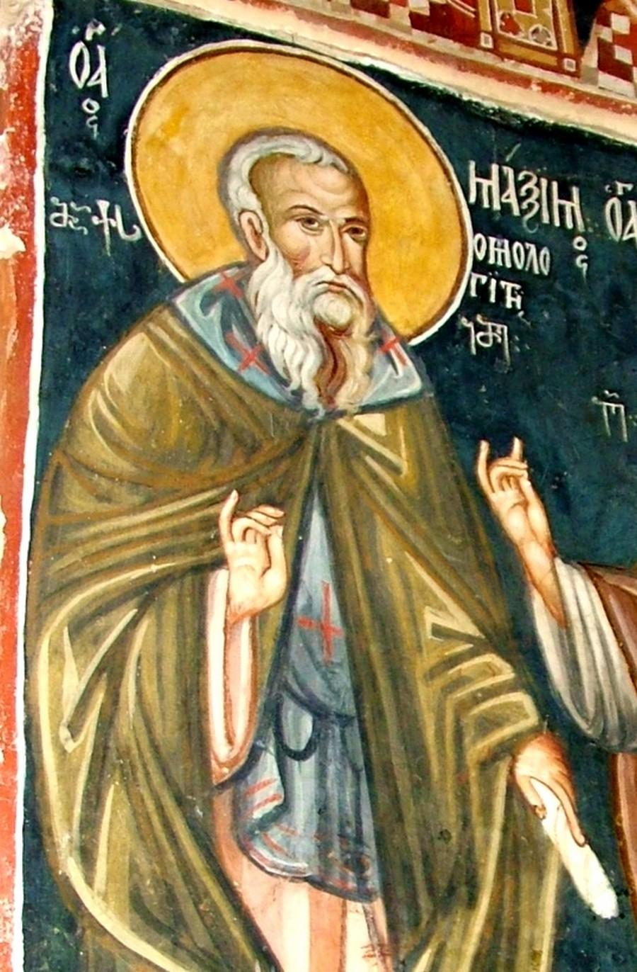 Святой Преподобный Максим Исповедник. Фреска грузинского монастыря Святого Креста в Иерусалиме.