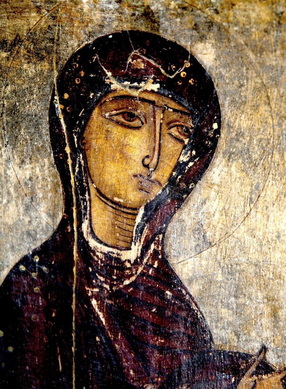 Пресвятая Богородица. Икона. Сванетия, Грузия. Фрагмент.