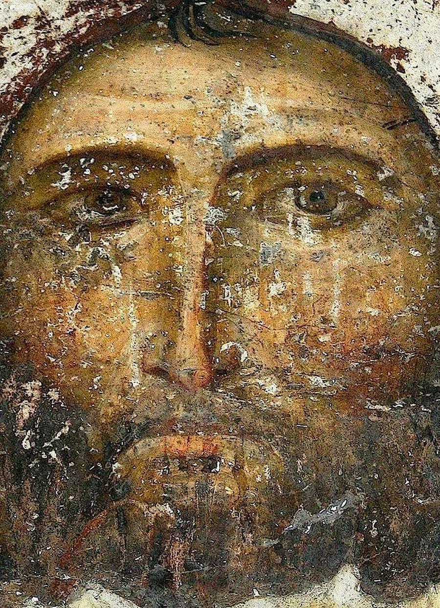 Спас Нерукотворный. Фреска пещерного монастыря Вардзиа (Вардзия), Грузия. До 1185 года. Фрагмент.
