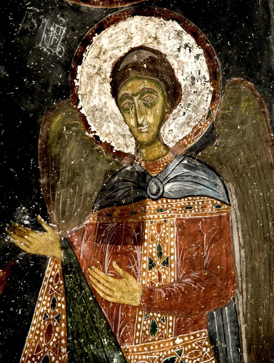 Архангел Гавриил.Фреска церкви Архангелов (Тарингзел) в Латали, Сванетия, Грузия. XIV век.