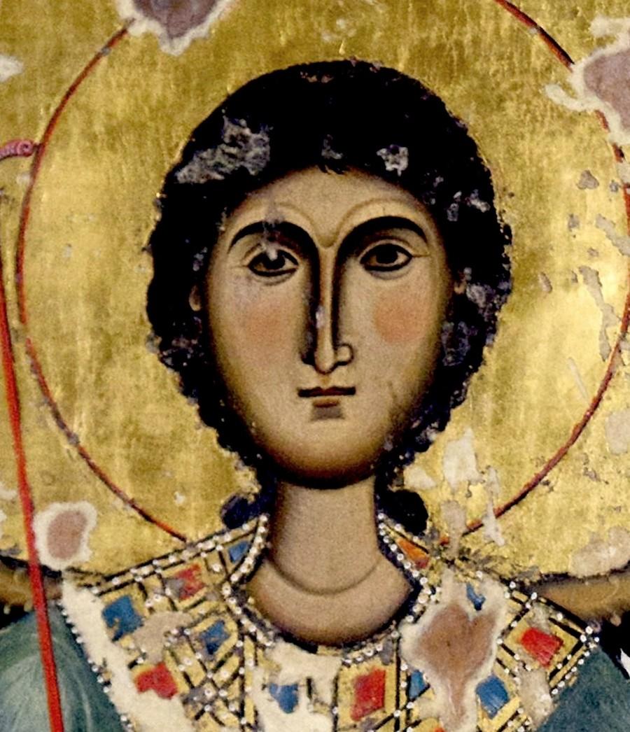 Архангел Гавриил. Грузинская икона XIV века. Сванетия. Фрагмент.
