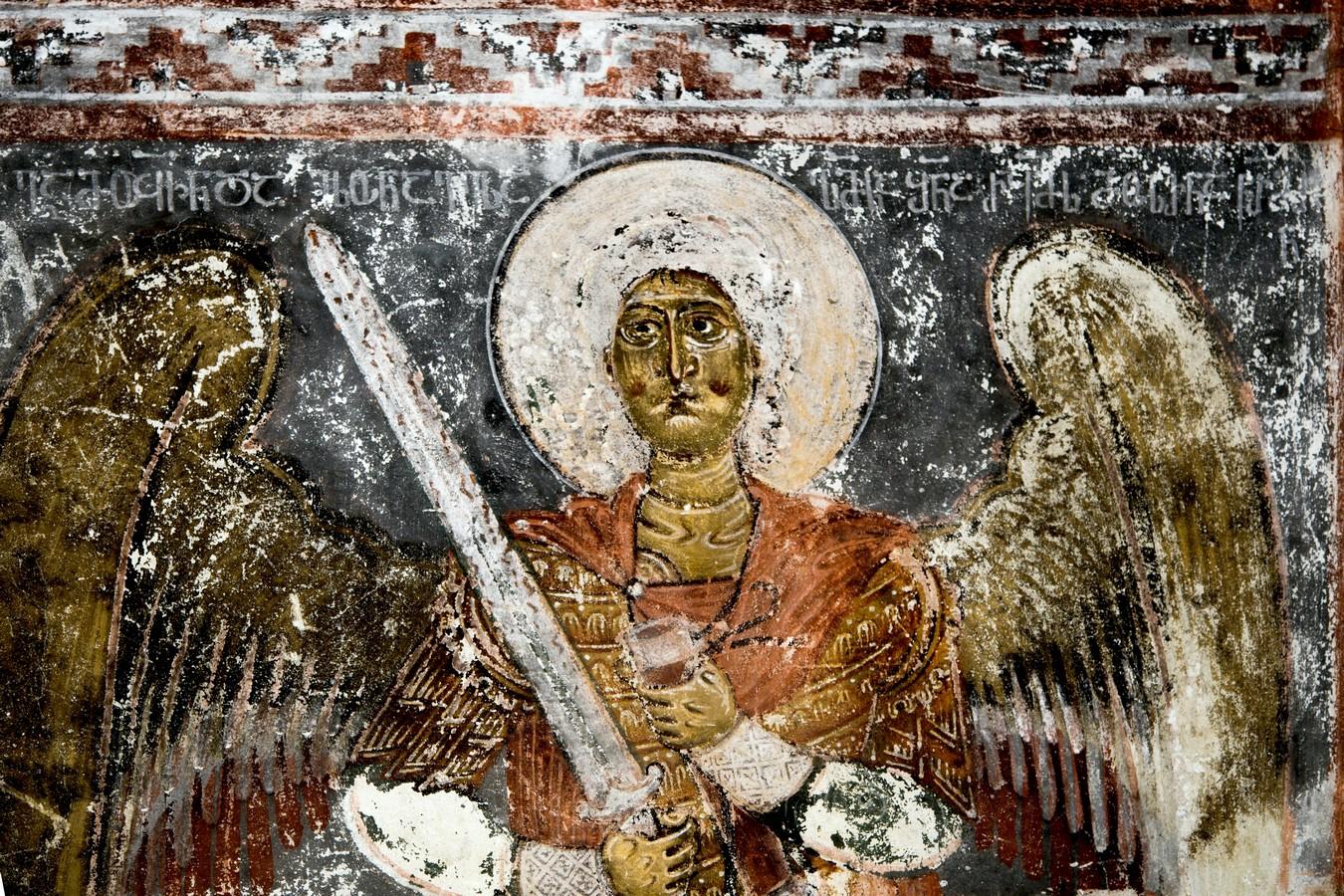 Архангел Михаил. Фреска церкви Архангелов в Ипрари, Сванетия, Грузия. 1096 год. Иконописец Тевдоре.