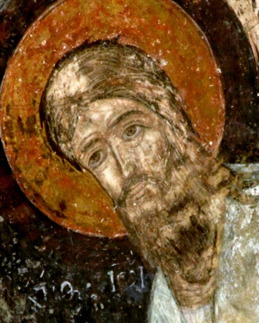 Святой Пророк, Предтеча и Креститель Господень Иоанн. Фреска монастыря Самтависи, Грузия. XVII век. Фрагмент.