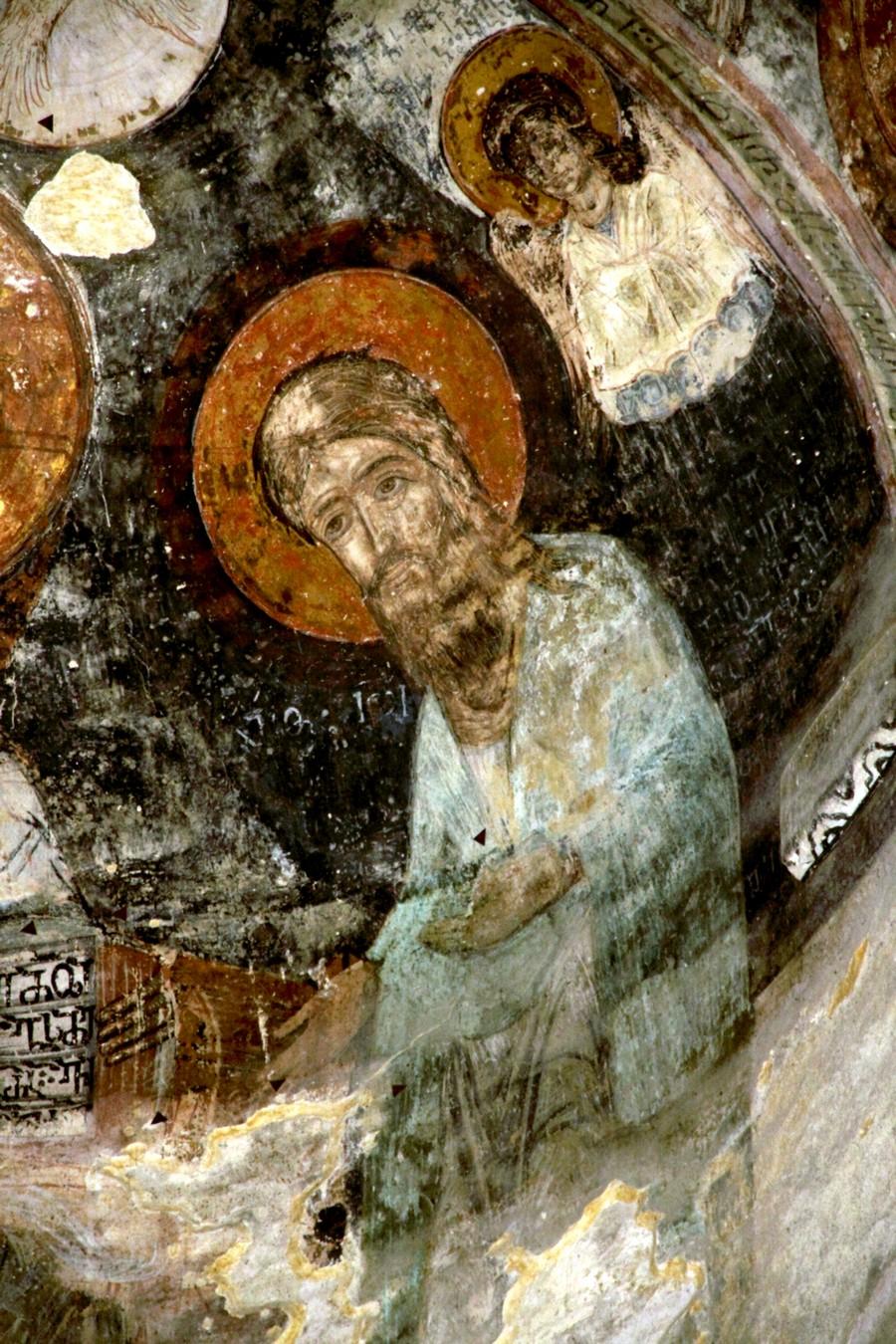 Святой Пророк, Предтеча и Креститель Господень Иоанн. Фреска монастыря Самтависи, Грузия. XVII век.
