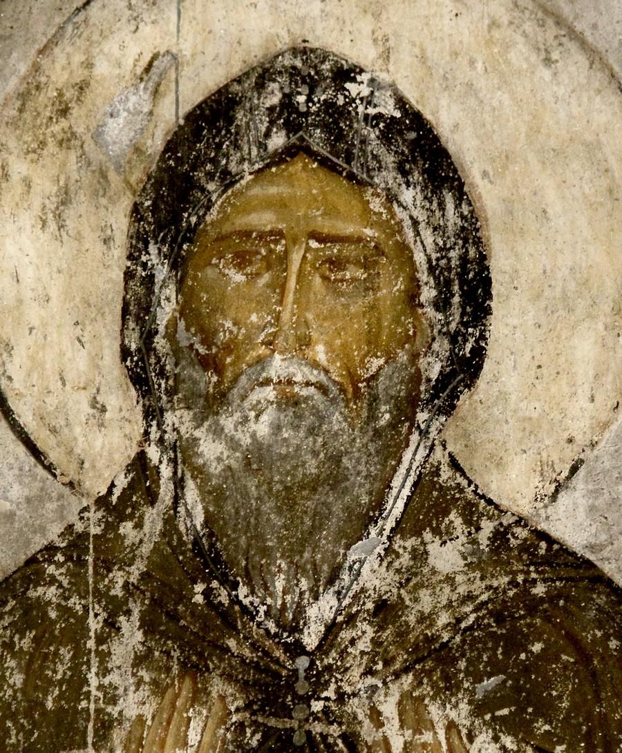 Святой Преподобный Симеон Столпник. Фреска пещерного монастыря Вардзиа (Вардзия), Грузия. До 1185 года.