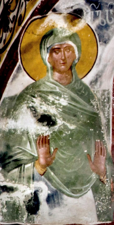 Святая Праведная Елисавета, мать Святого Иоанна Предтечи. Фреска церкви Святого Георгия в монастыре Гелати, Грузия. 1561 - 1578 годы.
