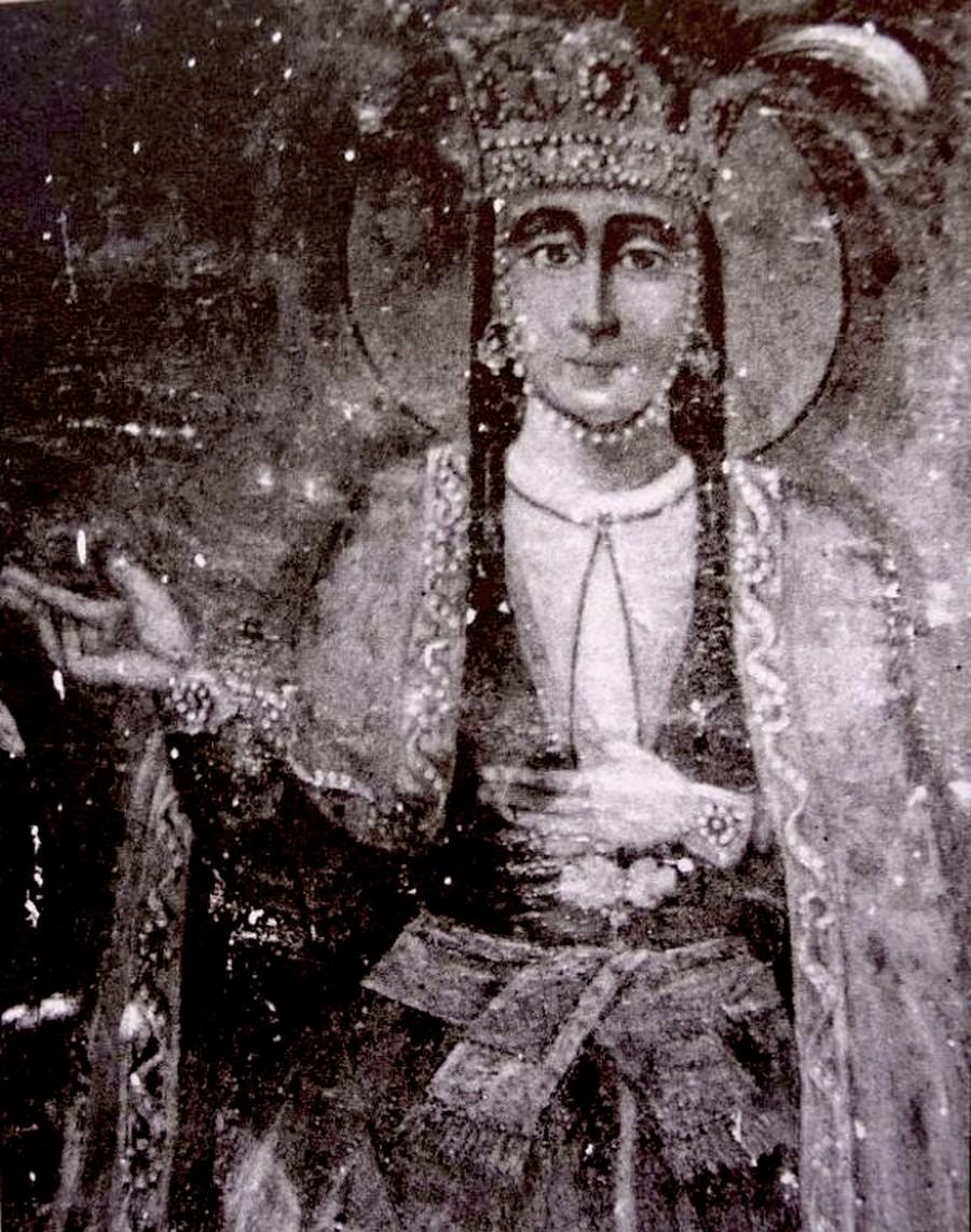 Святая Великомученица Кетеван, Царица Кахетинская. Фреска церкви Святого Георгия в Тбилиси. XIX век.