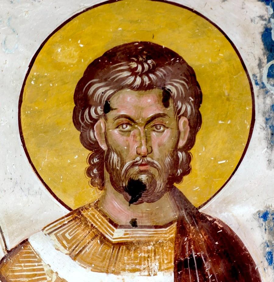 Святой Великомученик Евстафий Плакида. Фреска церкви Святого Георгия в монастыре Гелати, Грузия. 1561 - 1578 годы. Фрагмент.
