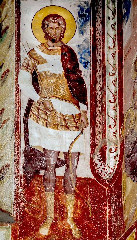 Святой Великомученик Евстафий Плакида. Фреска церкви Святого Георгия в монастыре Гелати, Грузия. 1561 - 1578 годы.