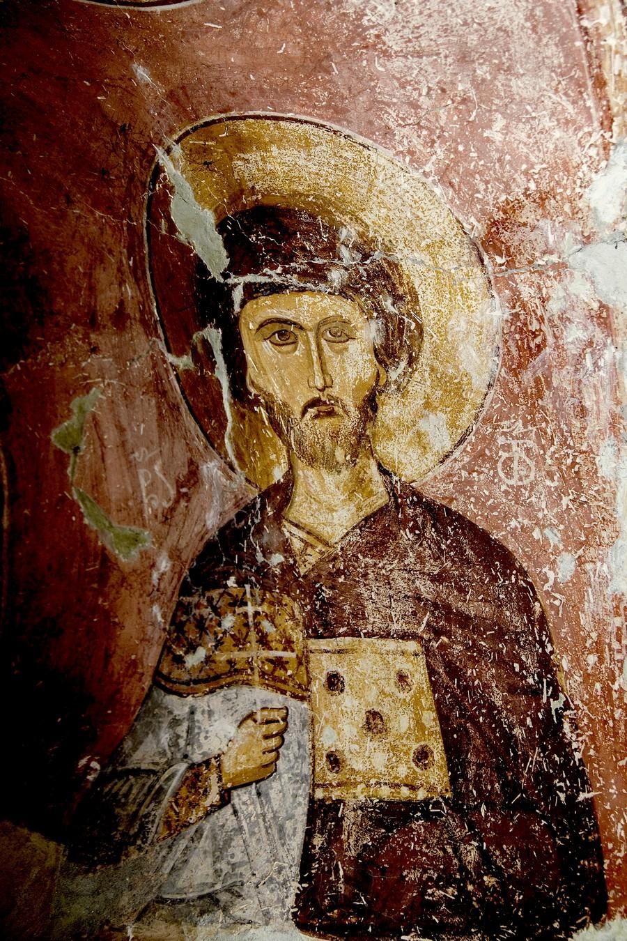 Святой Мученик Давид, Князь Арагветский. Фреска церкви Распятия Господня в Сори, Грузия. Начало XIV века.