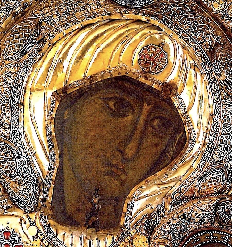 Чудотворная Иверская икона Божией Матери. Монастырь Иверон на Афоне. Фрагмент.
