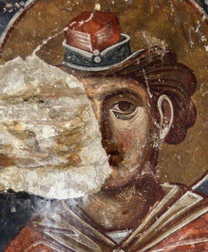 Святой Пророк Моисей Боговидец. Фреска монастыря Тири, Южная Осетия. XIV - XV век.