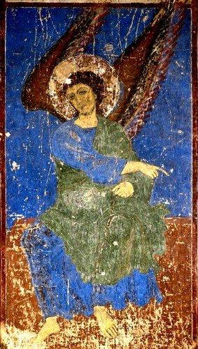 """""""Кинцвисский Ангел"""". Фреска церкви Святого Николая в монастыре Кинцвиси, Грузия. Около 1207 года."""