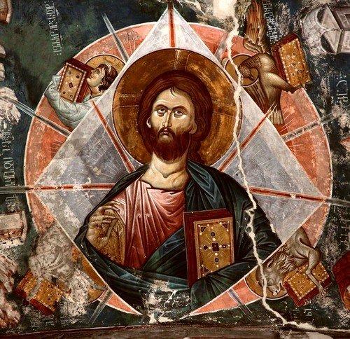Христос во славе. Фреска церкви Святого Георгия в монастыре Убиси, Грузия. Середина - вторая половина XIV века.