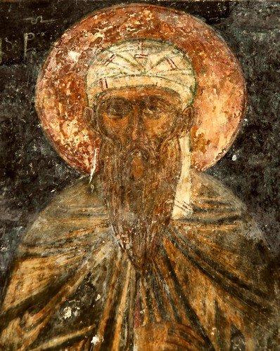 Святой. Фреска монастыря Зарзма, Грузия. Середина XIV века.