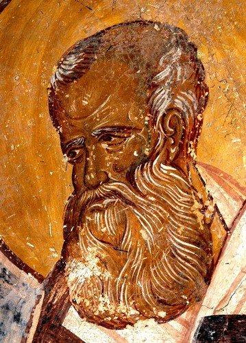 Святитель Григорий Богослов. Фреска монастыря Гелати, Грузия. XIII век.