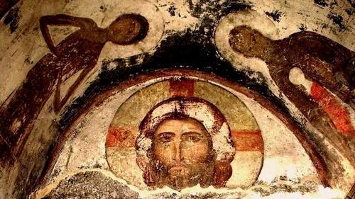 Спас Нерукотворный. Фреска монастыря Вардзиа, Грузия. XII век.