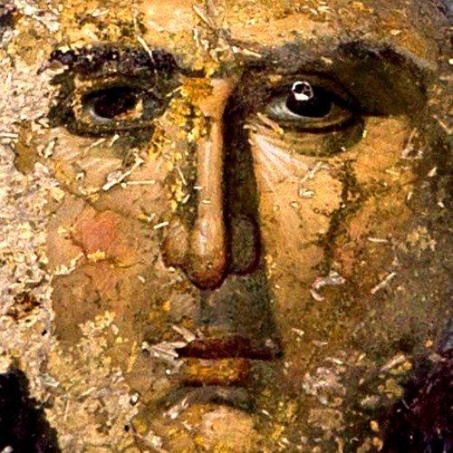 Пресвятая Богородица с Младенцем и предстоящими Архангелами. Фреска монастыря Мартвили, Грузия. XIV век.