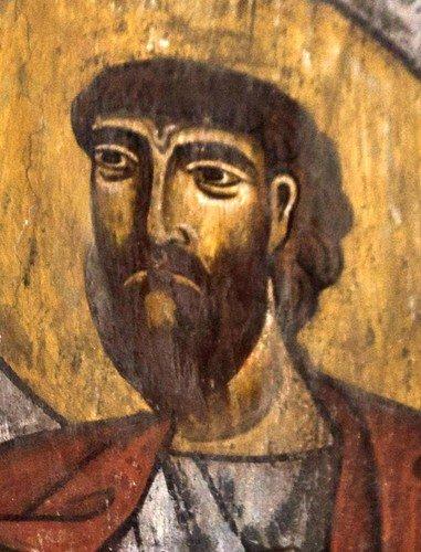 Святые Апостолы. Фреска церкви Спасителя в Мацхвариши, Сванетия, Грузия. 1142 год. Иконописец Микаэл Маглакелидзе.
