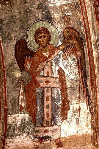 Архангел Гавриил. Фреска храма Святого Саввы в монастыре Сапара, Грузия. XIV век.