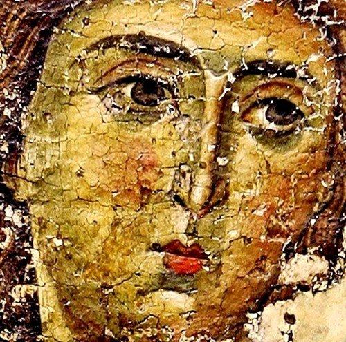 Лик Архангела. Фрагмент грузинской иконы XII века.