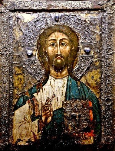 """Господь Вседержитель (""""Христос из Кацхи""""). Грузинская икона XI века."""
