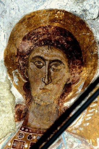 Деисис. Фреска церкви Распятия Господня в Сори, Грузия. Начало XIV века.