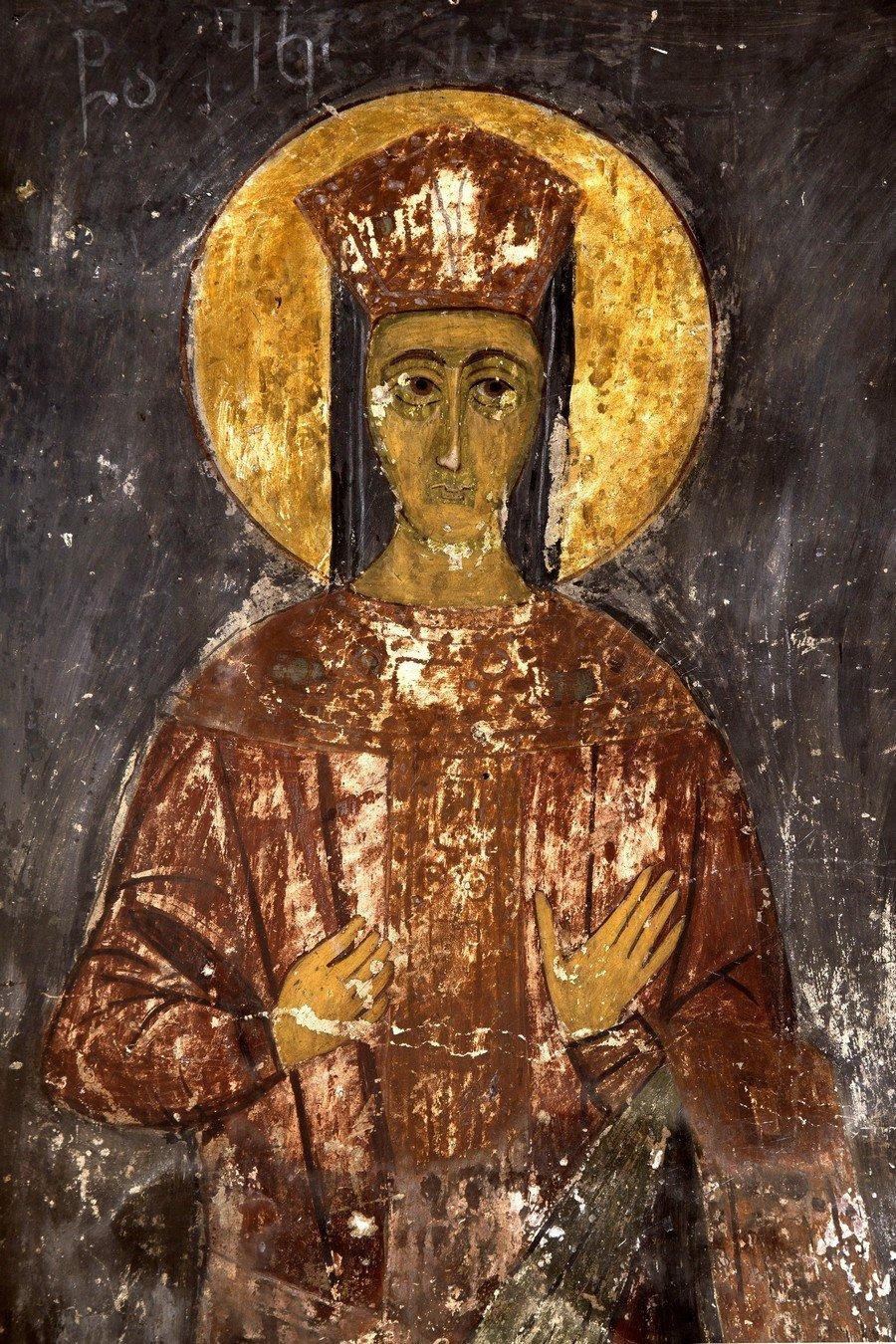 Святая Великомученица Екатерина Александрийская. Фреска церкви Тарингзел (Архангелов) в Латали, Сванетия, Грузия. XIV век.