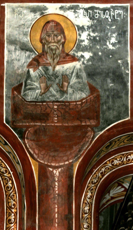 Святой Преподобный Алипий Столпник. Фреска собора Рождества Пресвятой Богородицы в монастыре Гелати, Грузия. XVI век.