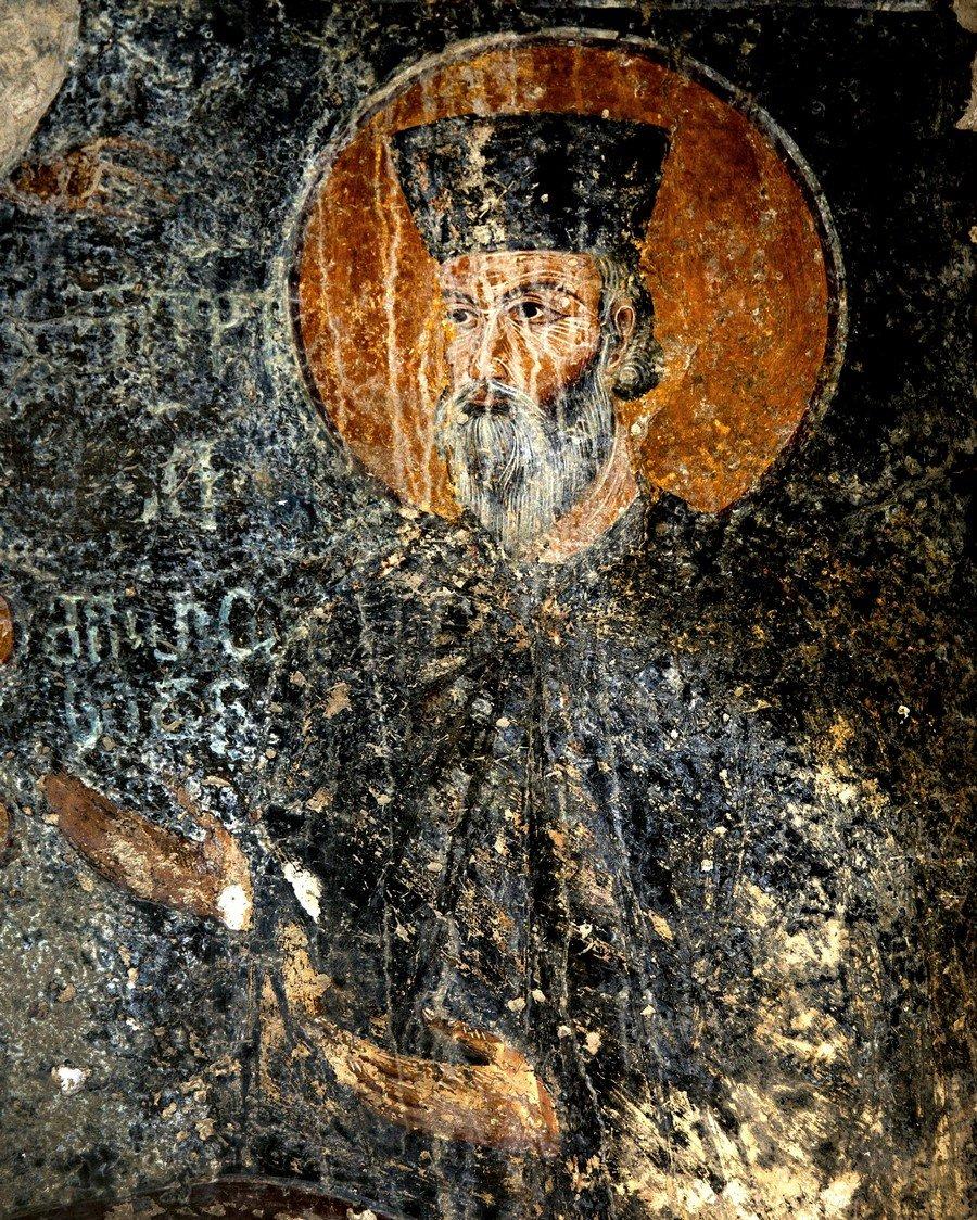 Ктиторский портрет царя Давида VI Нарина в монашеском облачении. Фреска придела Святого Андрея собора Рождества Пресвятой Богородицы в монастыре Гелати, Грузия. Последняя четверть XIII века.