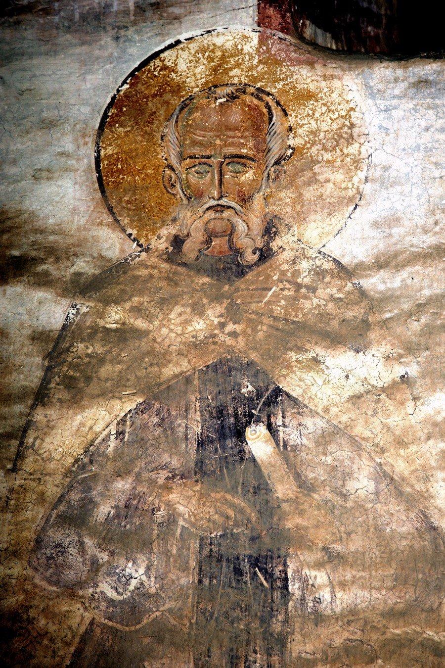 Святой Преподобный Савва Освященный. Фреска собора Христа Спасителя в Цаленджихе, Грузия. 1384 - 1396 годы. Иконописец Мануил Евгеник.