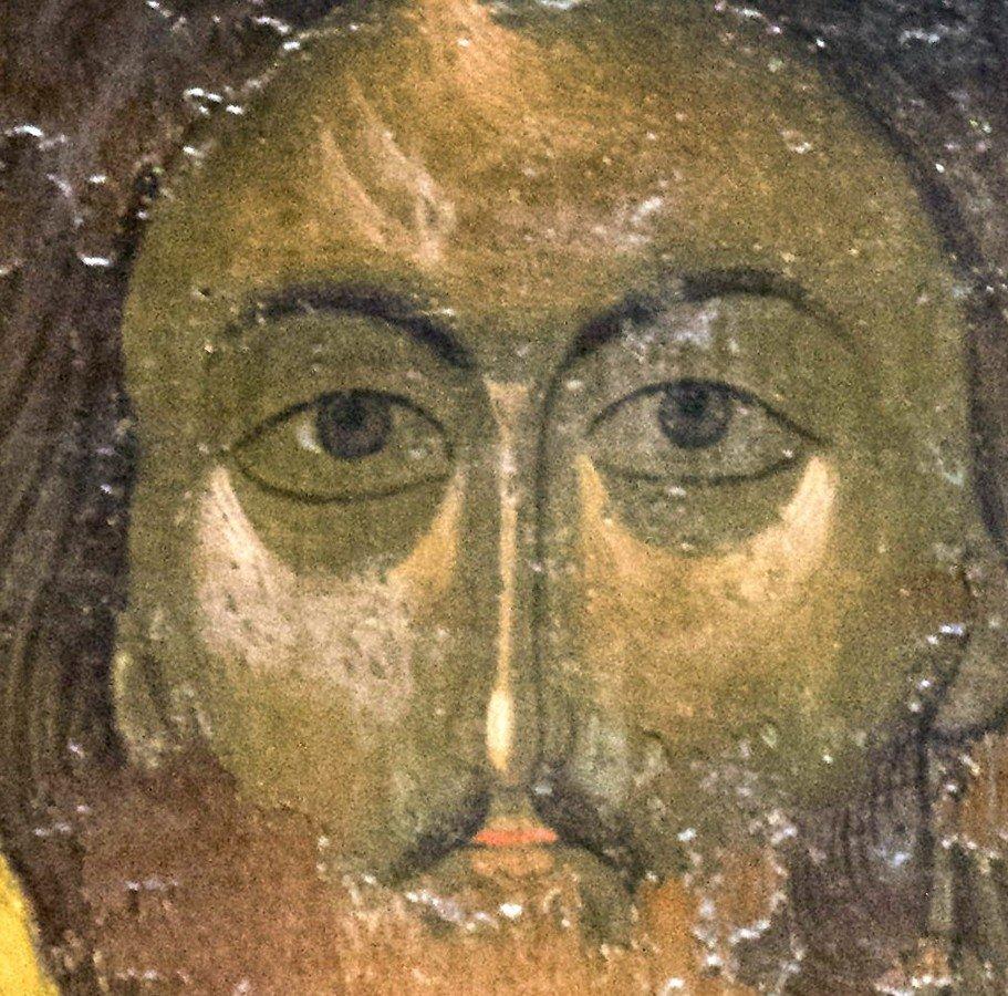 Христос Пантократор (Вседержитель). Икона из деисиса монастыря Убиса (Убиси). Грузия, XIV век. Фрагмент.
